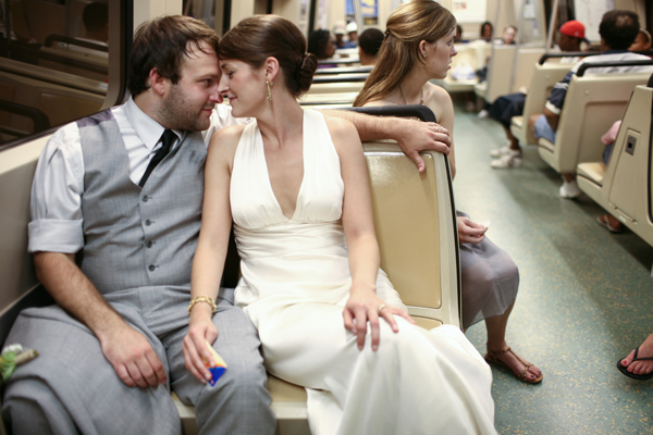 Bride-and-Groom-on-Subway-Train